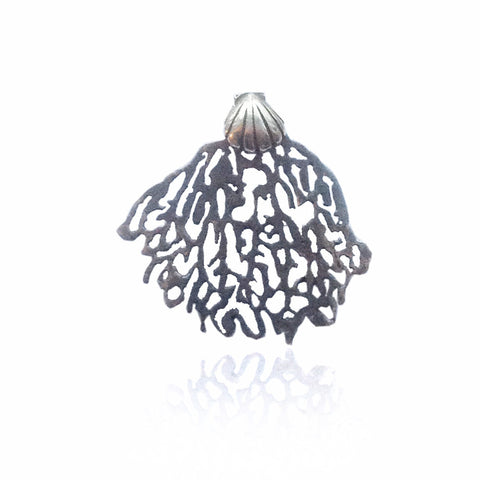 Black coral and shell single stud earring