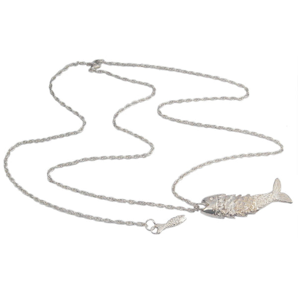 Articulated Fish Necklace Shiny Silver Product Shot Sub