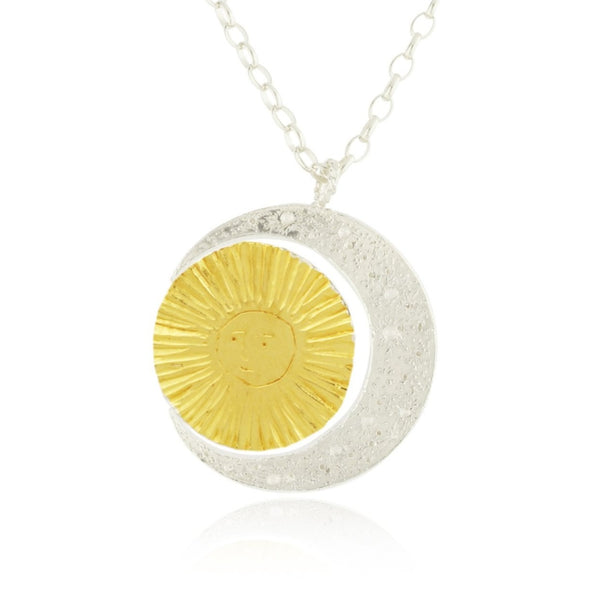 Large Crescent moon & Sun Necklace
