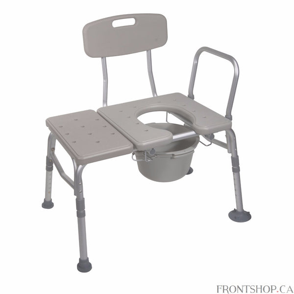 "This combination plastic transfer bench by Drive Medical combines two products in one: a durable and secure transfer bench and convenient commode. The product features extra large, locking suction cups which attach to the surface of your bathtub to provide added safety. The bench is height adjustable ranging from 17.75"" - 21.75"" to meet your needs. The seat and back are constructed of durable blow-molded plastic. The back allows you to relax and enjoy very comfortable experience when using this transfer ben"