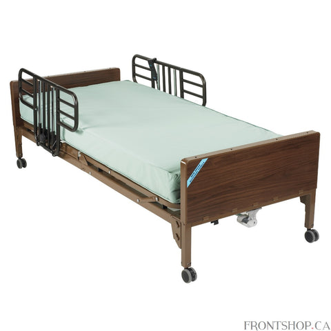 This lightweight, interchangeable and easily assembled electric bed is the ultra-light plus model from Drive Medical. Its new universal style, crack proof head and foot boards are interchangeable, featuring high impact composite end panels. A height adjustment motor arrives pre-installed on the foot section but can still be either installed or removed tool free in seconds with the patient still in the bed. The unique single motor and junction box are self-contained to reduce noise and prevent disruptions or