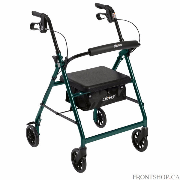 "The Walker Rollator with 6"" Wheels, Fold Up Removable Back Support and Padded Seat in Green by Drive Medical comes standard with 6"" caster wheels, loop locks and serrated brakes to ensure safety. The seamless padded seat opens to a roomy, convenient, zippered storage pouch to easily and securely transport personal items, and the ergonomic handles are easy to grip, relieve hand pressure, and are height adjustable to accommodate users height. This Rollator by Drive Medical is a great value that provides the f"