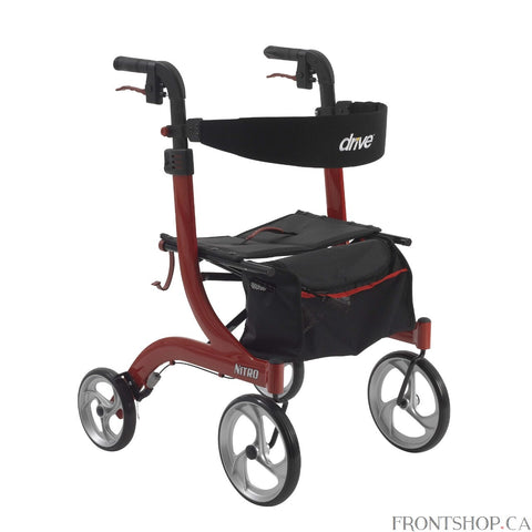 Supreme Value, Comfort and Mobility Drive Medical's Nitro Euro Style Rollator Walker was designed for those who want unmatched value along with proven comfort and convenience. With a sturdy and long-lasting frame made of lightweight aluminum, this walker is durable, yet easy to move around over all surfaces, giving you outstanding value, unmatched comfort, independence and ease of movement.Designed with your comfort, safety and convenience squarely in mind, the Nitro Euro Style Rollator Walker comes with la