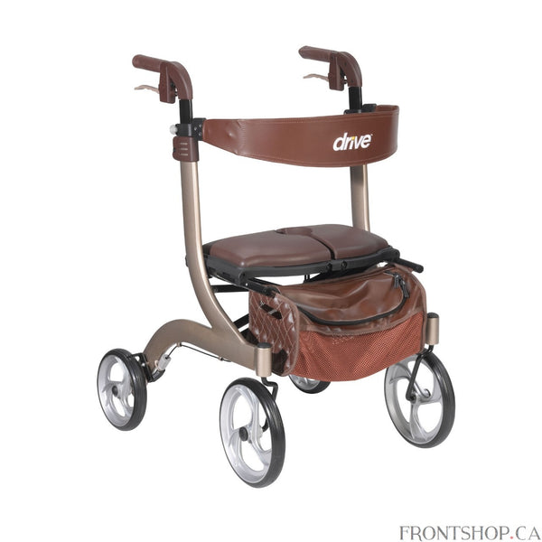 If you're seeking a safe, convenient aid to improving your daily mobility, a Rollator can be the ideal solution. Wheels make a Rollator a superior option over a standard walker, eliminating the need to lift the device and allowing you to walk with an easy, smooth gait. Plus, Rollators are better for traveling over uneven, outdoor terrain, making them great for your active, busy lifestyle. And with the built-in seat found on a Rollator, you'll always have a convenient place to rest. Featuring a revolutionary