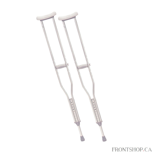 "Lighter than wood, this walking crutch by Drive Medical provides stability and durability. Each crutch is manufactured with a double extruded center tube to ensure additional strength on weight-bearing areas. Extra thick (latex free) underarm pads and hand grips provide maximum comfort when in use. Tool free push-button adjustment allows the height of the underarm pad to be easily adjusted in 1"" increments. Hand grips adjust separately without tools to ensure a proper fit."