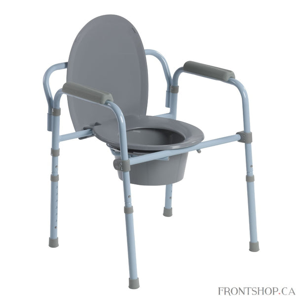 Using the bathroom shouldn't be a difficult chore. If reduced mobility makes getting to the bathroom a challenge, a home care commode can be a necessity. The Folding Steel Commode from Drive Medical can be easily setup in any room of the house for ultimate convenience. In addition, it can be used without the bucket and placed over an existing toilet as a secure, raised toilet seat for those who have difficulty bending to sit on a standard toilet. The Folding Steel Commode also makes a great toilet frame off