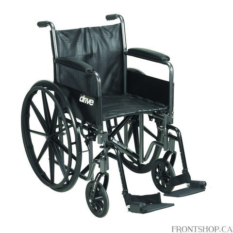 "The 18"" Silver Sport 2 Wheelchair with Detachable Full Arms and Swing Away Footrests comes in an attractive, easy to maintain, powder coated, silver vein finish, and a steel frame for durability. The urethane tires are mounted on composite wheels to provide durability and a smooth ride over most surfaces. The embossed, nylon upholstery is durable, lightweight, attractive and easy to clean. The carry pocket on the backrest provides an easy and safe way to transport personal items. Comes standard with swing a"