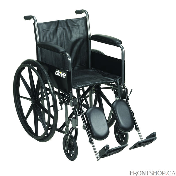 "The 20"" Silver Sport 2 Wheelchair with Detachable Full Arms and Swing Away Footrests by Drive Medical comes in an attractive, easy to maintain, powder coated, silver vein finish, and a steel frame for durability. The urethane tires are mounted on composite wheels to provide durability and a smooth ride over most surfaces. The embossed, nylon upholstery is durable, lightweight, attractive and easy to clean. The carry pocket on the backrest provides an easy and safe way to transport personal items. Comes stan"