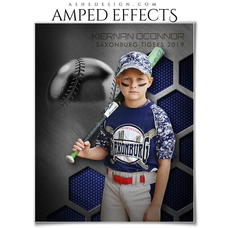 Ashe Design 16x20 Amped Effects - Honeycomb Steel  - Baseball