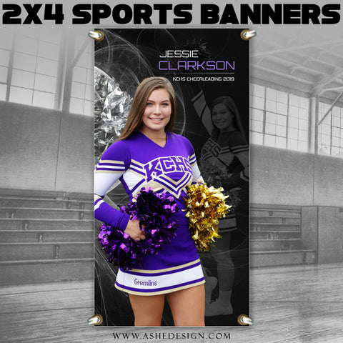 Ashe Design 2x4 Sports Banner - Mystic Explosion Cheer