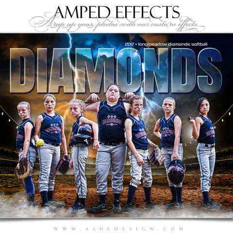 Ashe Design 16x20 Amped Effects Sports Photography Photoshop Templates Breaking Ground Baseball Softball Team