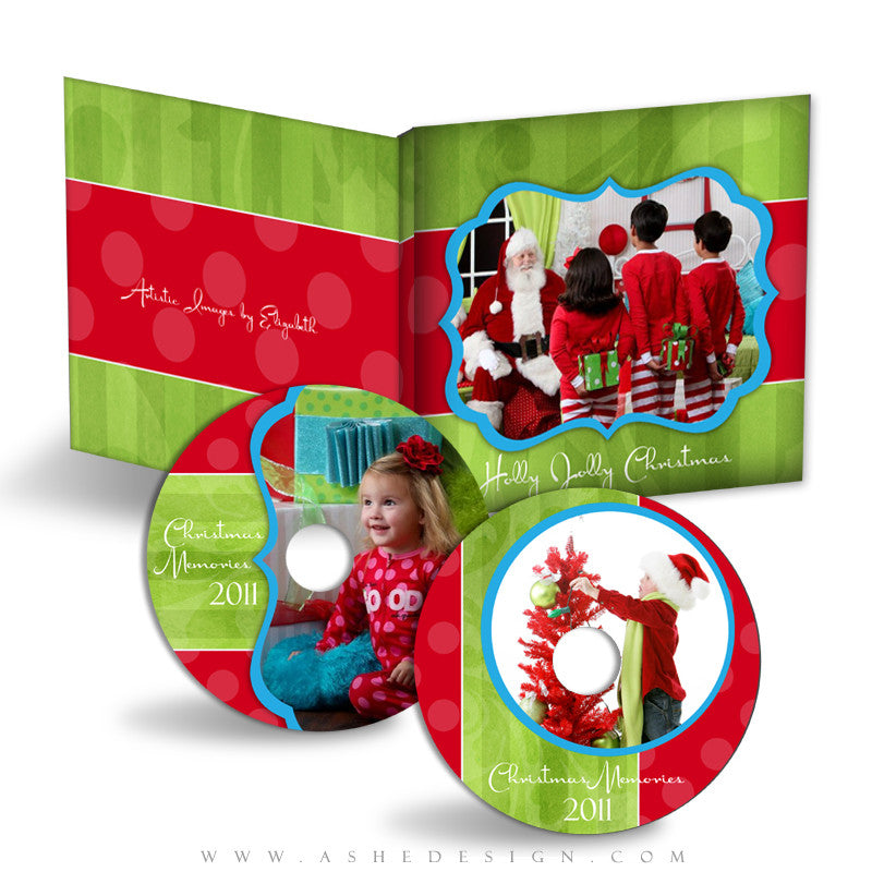 CD/DVD Label & Case Design Set - Holly Jolly Christmas