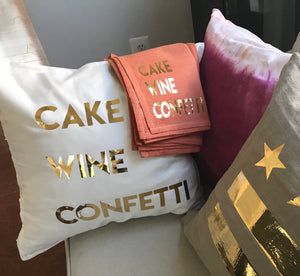 Cake Wine Confetti Pillow