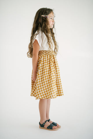 crinkle button skirt