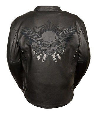 MEN'S MOTORCYCLE REFLECTIVE SKULL LEATHER JACKET WITH WINGS