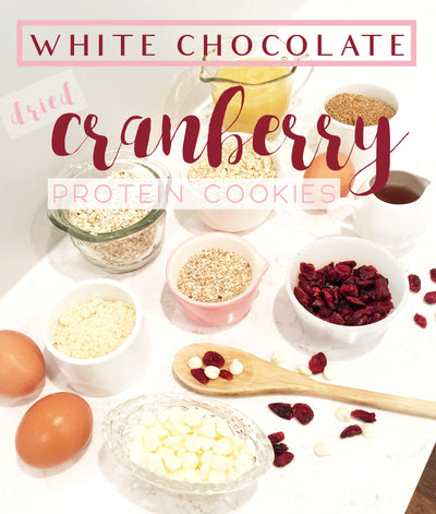 WHITE CHOCOLATE CHIP DRIED CRANBERRY PROTEIN COOKIES