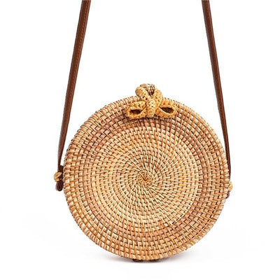 Round Woven Rattan Bag - Cross Body