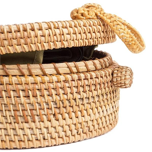 Round Woven Rattan Bag with added detail - Cross Body