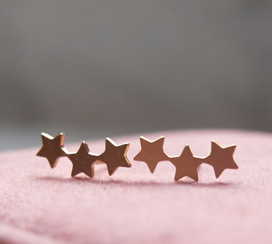 Stars gold plated stud earrings