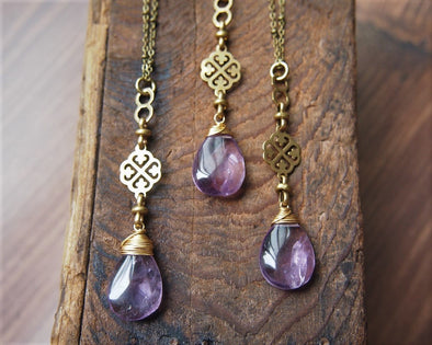Raw amethyst boho necklace with vintage chain