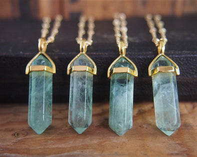 Natural Mint Green Fluorite  Raw Stone Necklace