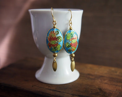 Vintage blue cloisonne enamel chrysanthemum earrings