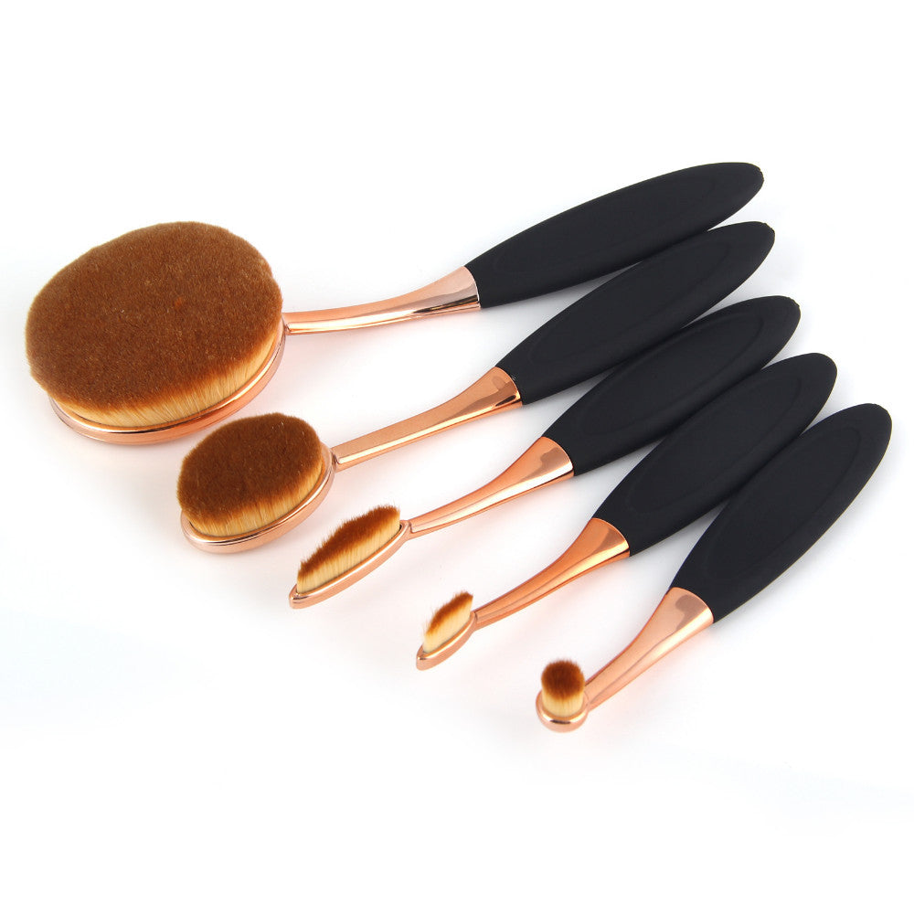 NAKEHOUSE-5pc  Toothbrush professional Makeup Rose Gold and Black Oval blush  set w/ Box,Multiple brushes
