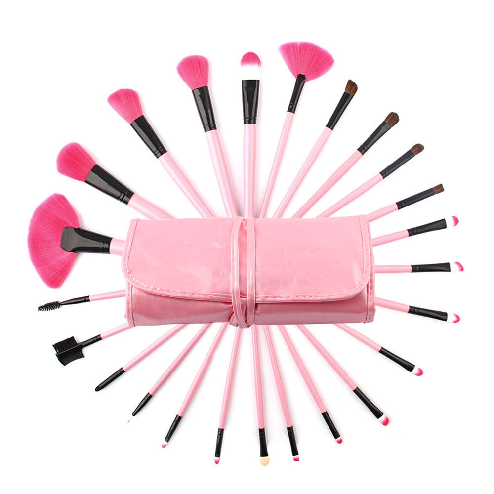 NAKEHOUSE-Professional 24 Piece Pink Glory Makeup Brush Set with Free Case,Multiple brushes