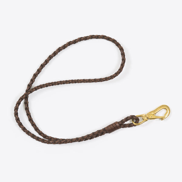 Geflochtenes Schlüsselband Braun (Braided Leather Lanyard Brown)