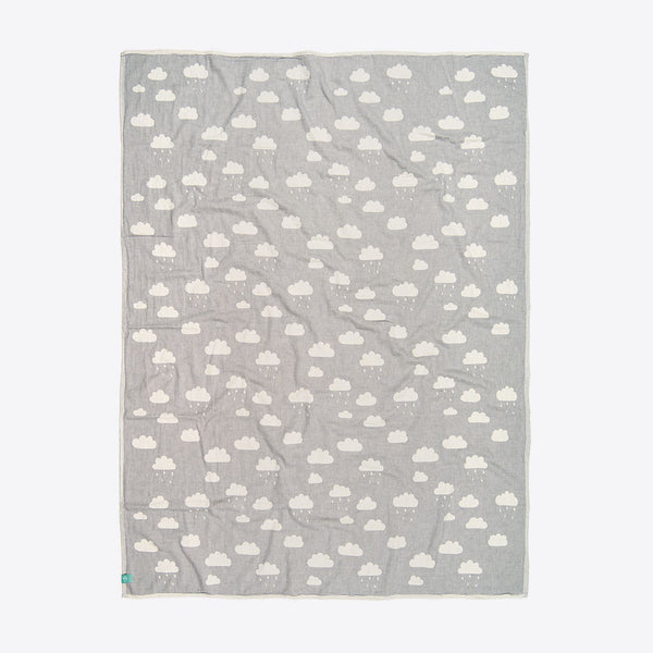 Kinderdecke mit Wolken Grau (Kids Cloud Towel Dusky Grey)