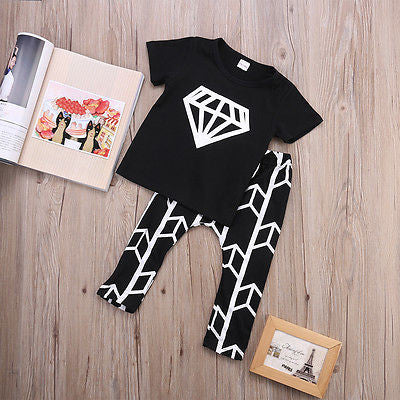 Black  Short Sleeve Top  with Diamond Logo+ Geometric Pants