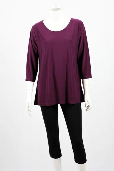 Purple 3/4 Sleeve Basic Tunic Top