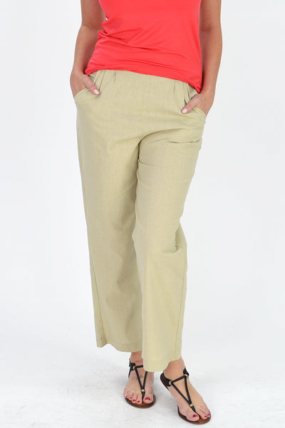 Tan Beige Linen Cotton Pants