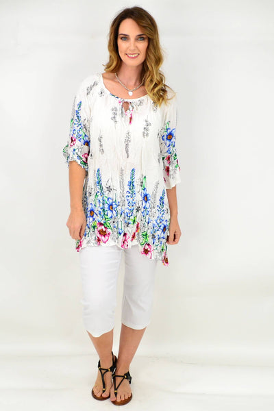 White Cottage Garden Crinkle Tie Tunic Blouse