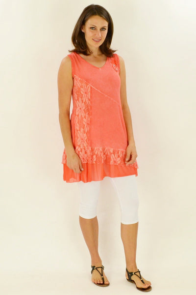 Peach Sleeveless Lace Tunic