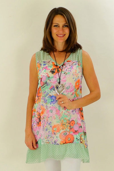 Orange Meadow Flowers Tunic