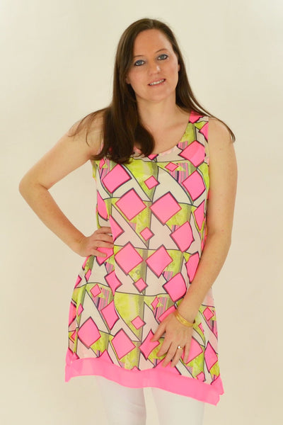 Pink Squares Pattern Tunic - at I Love Tunics @ www.ilovetunics.com = Number One! Tunics Destination