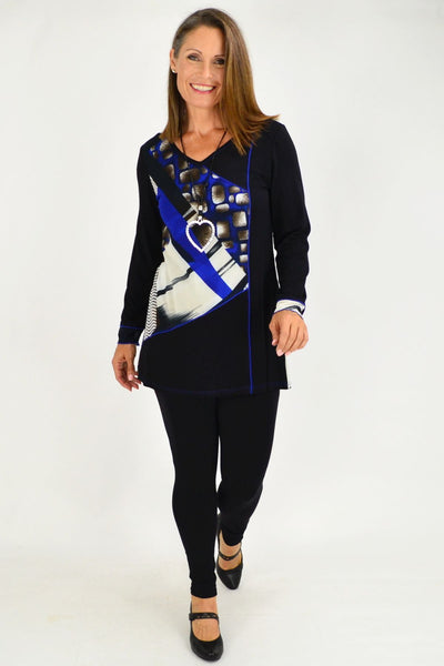 Black Blue Pattern Tunic Top