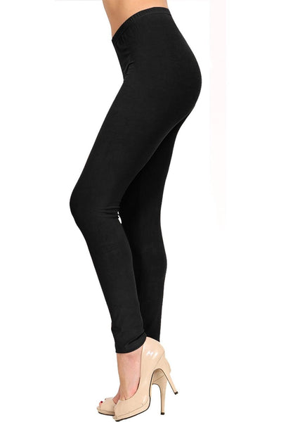 Full Length Black Cotton Leggings - at I Love Tunics @ www.ilovetunics.com = Number One! Tunics Destination
