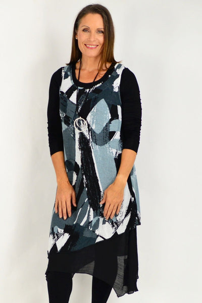 Grey Ashlee Sleeveless Tunic Dress