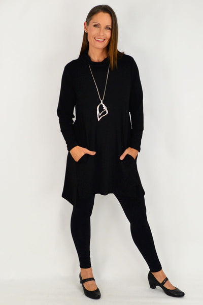 Black Long Skivvy Jersey Tunic