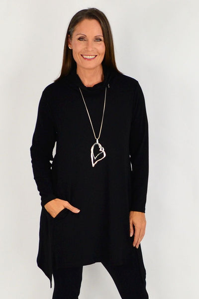 Black Long Skivvy Jersey Tunic | I Love Tunics | Tunic Tops | Tunic Dresses | Women's Tops | Plus Size Australia | Mature Fashion