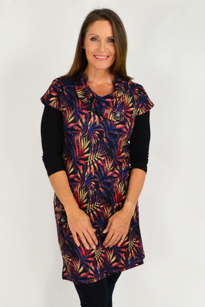 leaf pattern winter tunic top