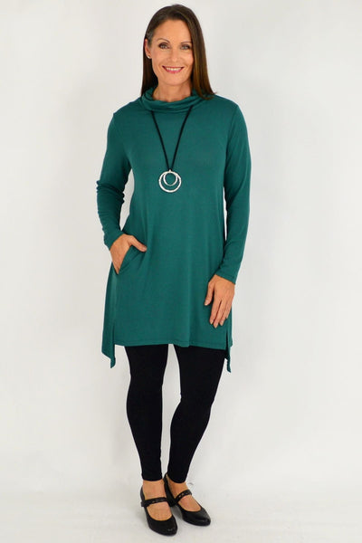 Emerald Green Long Skivvy Jersey Tunic