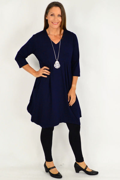 Navy Myra Cocoon Tunic Dress