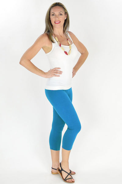 Light Blue Cotton 3/4 Leggings