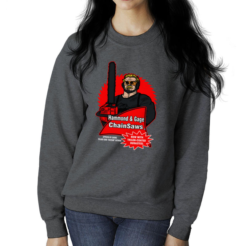 Hammond and Gage Chainsaws Buzzsaw Running Man Women's Sweatshirt by AndreusD - Cloud City 7