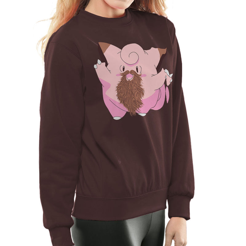 Beardemon Clefairy Pokemon Beard Women's Sweatshirt by DarkChoocoolat - Cloud City 7