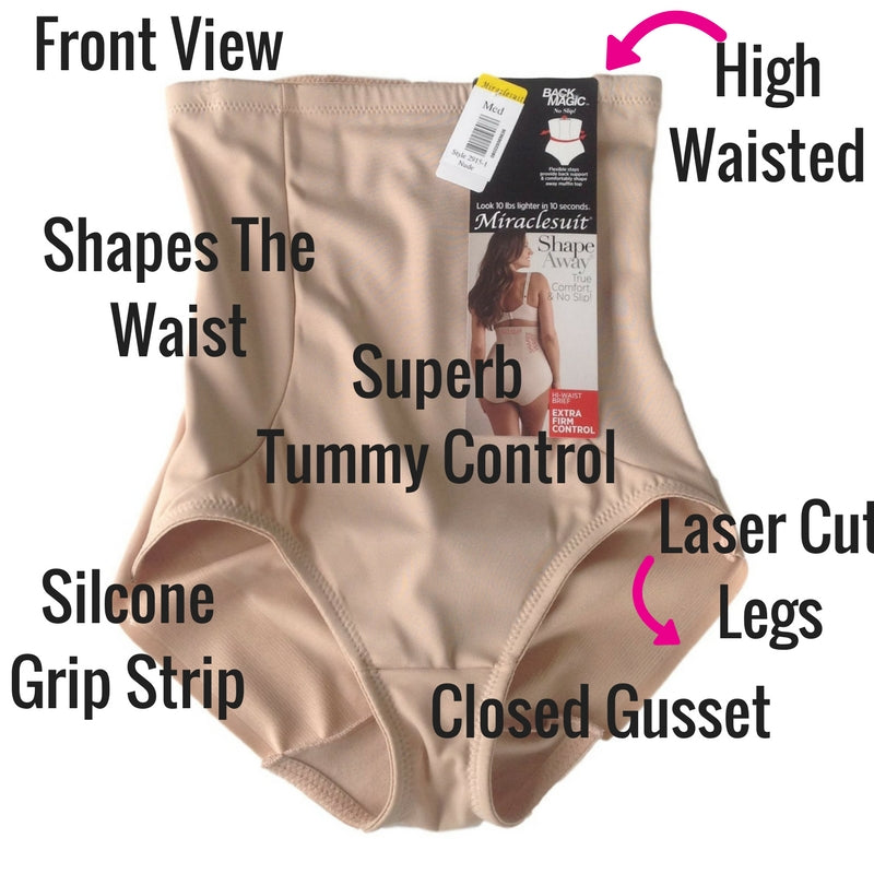 miraclesuit extra firm control back magic control pants shapewear review front view