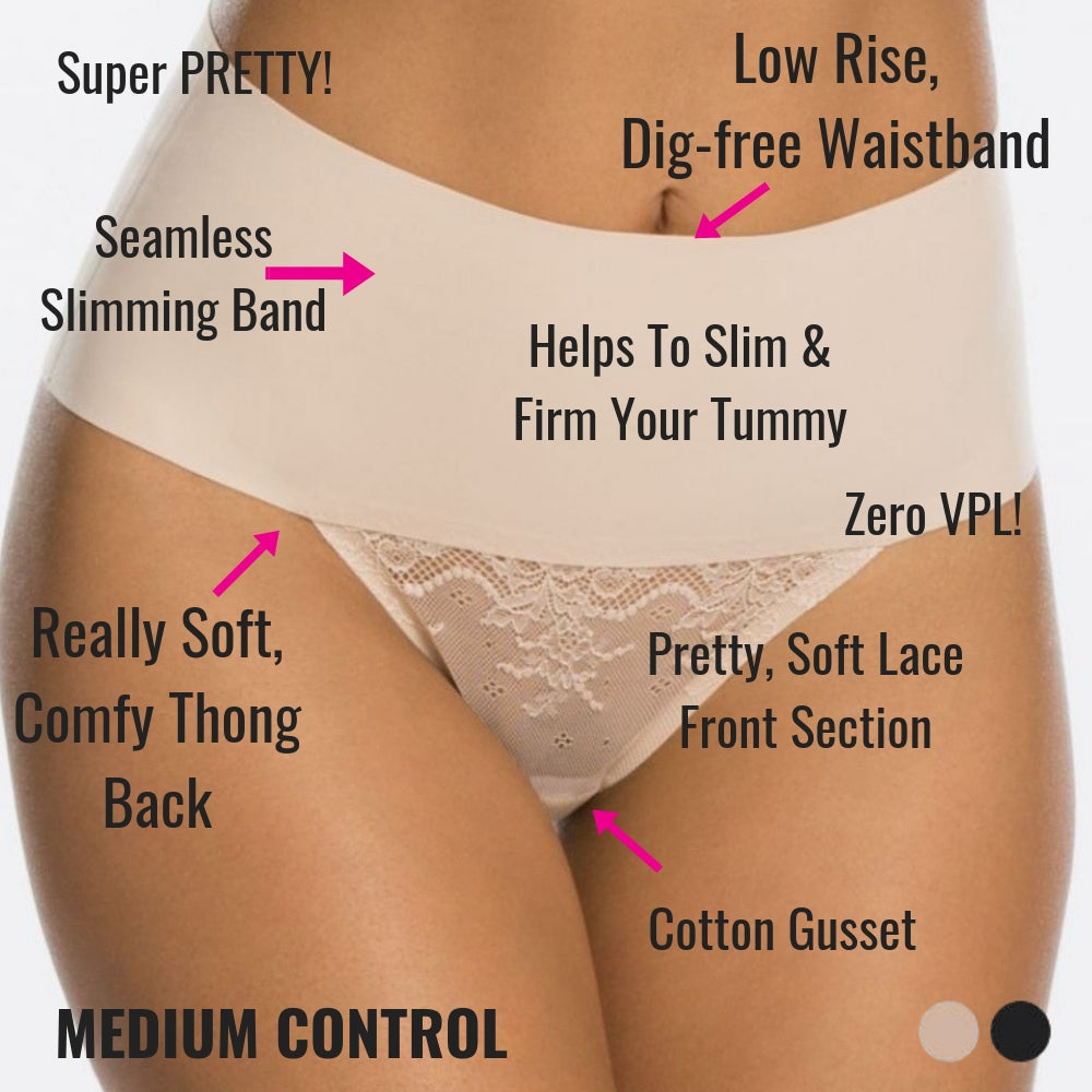 spanx undietectable lace control thong